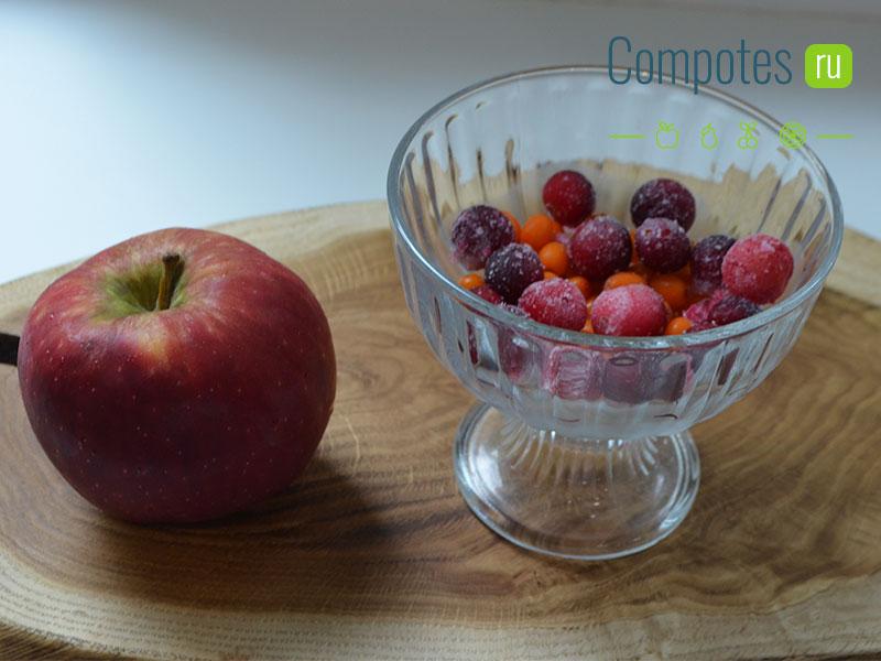 Яблоки и замороженные ягоды