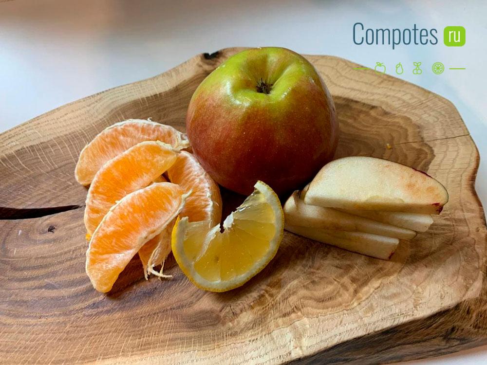 Яблоко и апельсин для компота из манго
