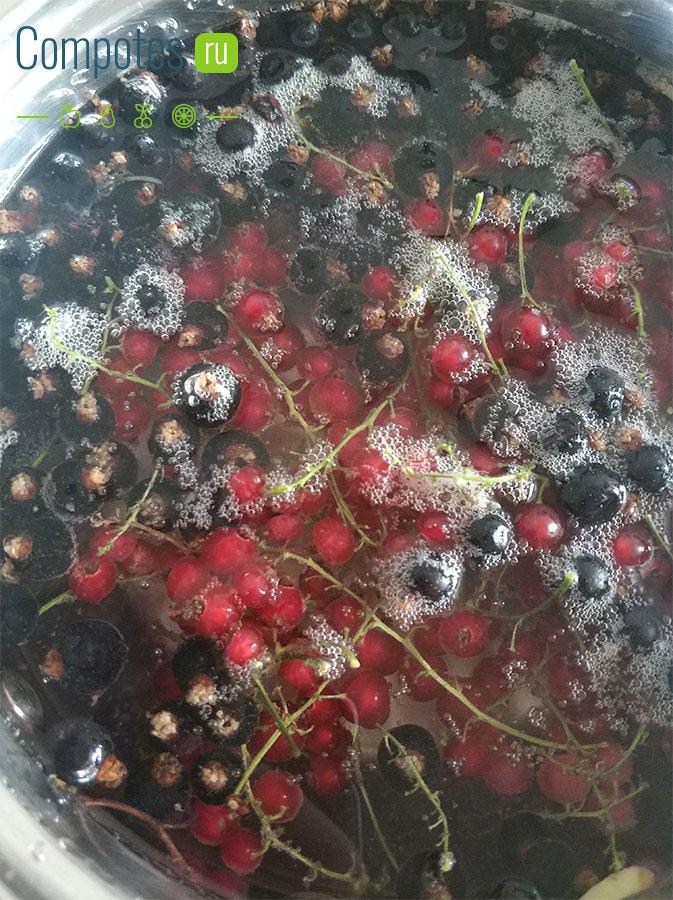 Варка компота из красной и черной смородины
